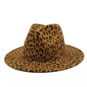 Leopard Animal Print Wool Felt Fedora Hat